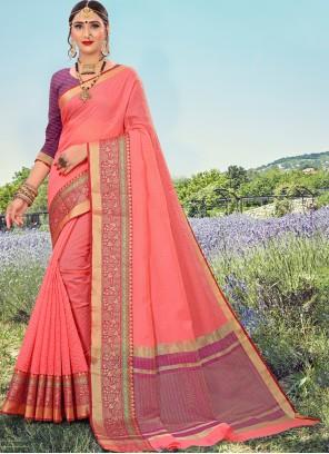 Peach Cotton Classic Designer Saree