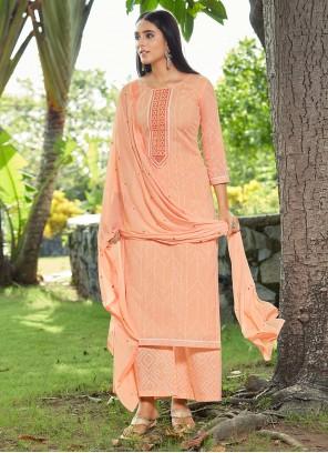 Peach Cotton Designer Pakistani Suit