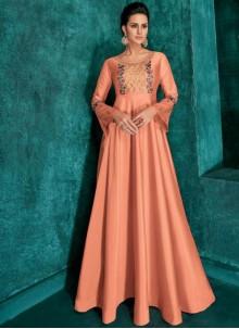 Peach Desinger Anarkali Salwar Suit