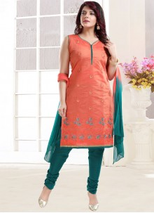 Peach Embroidered Ceremonial Churidar Designer Suit