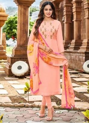 Peach Embroidered Chanderi Cotton Churidar Salwar Kameez