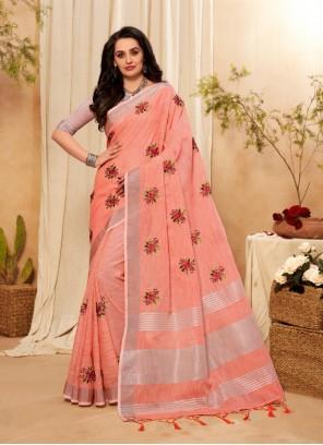 Peach Embroidered Classic Designer Saree