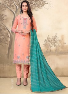 Peach Embroidered Cotton Pant Style Suit