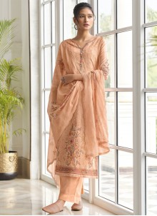 Peach Embroidered Designer Palazzo Salwar Suit