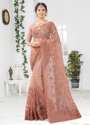 Peach Embroidered Designer Saree