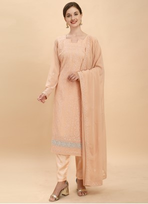 Peach Embroidered Engagement Pant Style Suit
