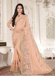 Peach Embroidered Fancy Fabric Designer Saree