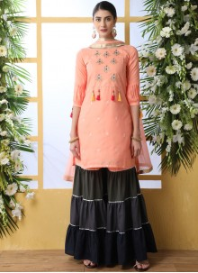 Peach Embroidered Festival Designer Palazzo Suit