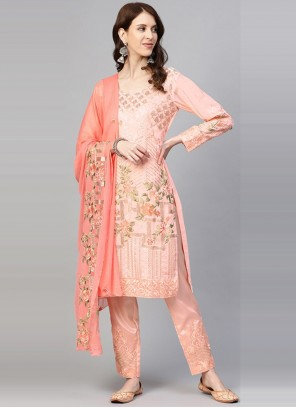 Peach Embroidered Festival Pant Style Suit