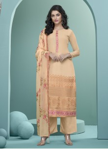 Peach Embroidered Festival Readymade Suit