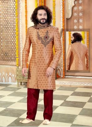 Peach Embroidered Jacquard Sherwani