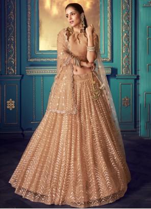 Peach Embroidered Net Bollywood Lehenga Choli