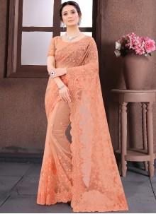 Peach Embroidered Net Trendy Saree