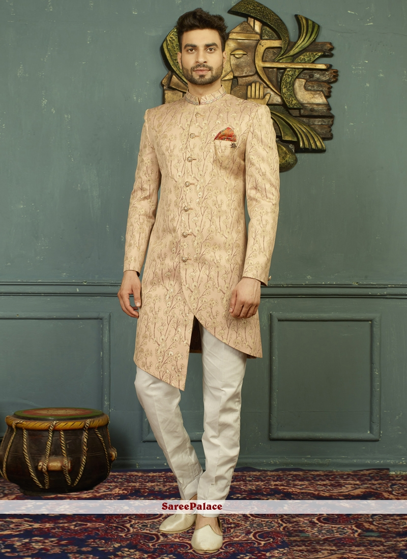 Peach Embroidered Party Indo Western