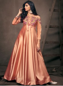 Peach Embroidered Party Readymade Gown