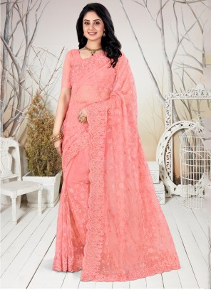 Peach Embroidered Party Trendy Saree