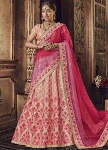 Peach Embroidered Raw Silk Lehenga Choli