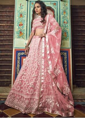Peach Embroidered Sangeet Designer Lehenga Choli