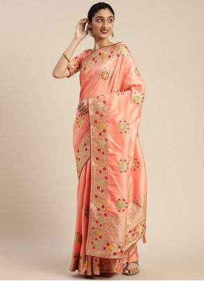 Peach Embroidered Silk Traditional Designer Saree
