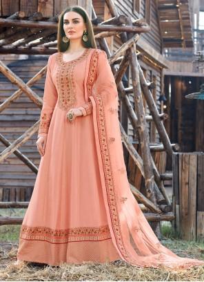 Peach Embroidered Silk Trendy Anarkali Salwar Suit