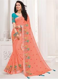 Peach Embroidered Trendy Saree