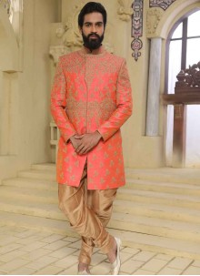 Peach Embroidered Wedding Indo Western