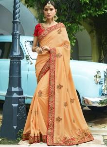 Peach Embroidered Work Silk Trendy Saree