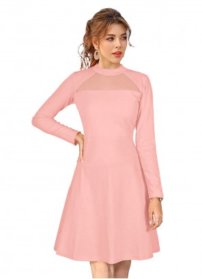 Peach Fancy Fabric Casual Designer Kurti