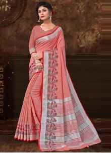 Peach Fancy Fabric Floral Print Classic Saree