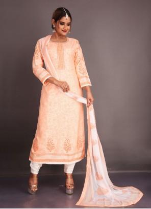 Peach Fancy Fabric Readymade Suit