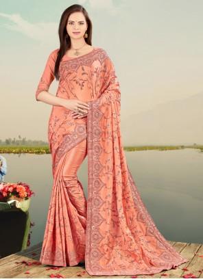 Peach Faux Chiffon Sangeet Classic Designer Saree