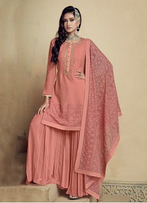 Peach Faux Georgette Designer Salwar Kameez
