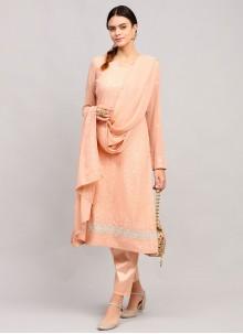 Peach Faux Georgette Festival Designer Straight Suit