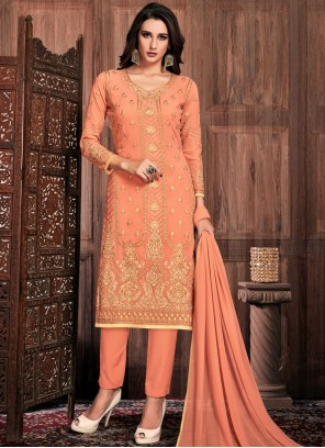 Peach Faux Georgette Pant Style Suit