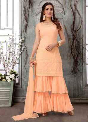 Peach Faux Georgette Readymade Suit
