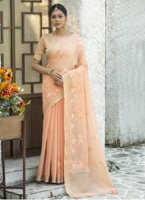 Peach Festival Classic Designer Saree