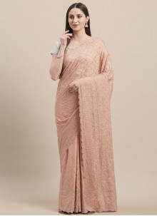 Peach Festival Designer Traditional Saree