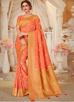 Peach Festival Designer Traditional Saree