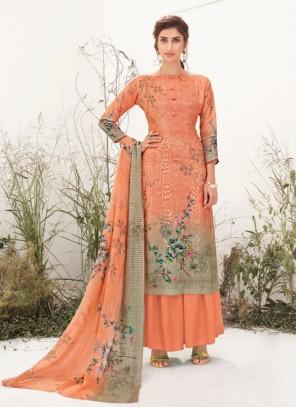 Peach Festival Muslin Designer Palazzo Suit