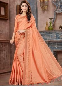 Peach Festival Silk Saree