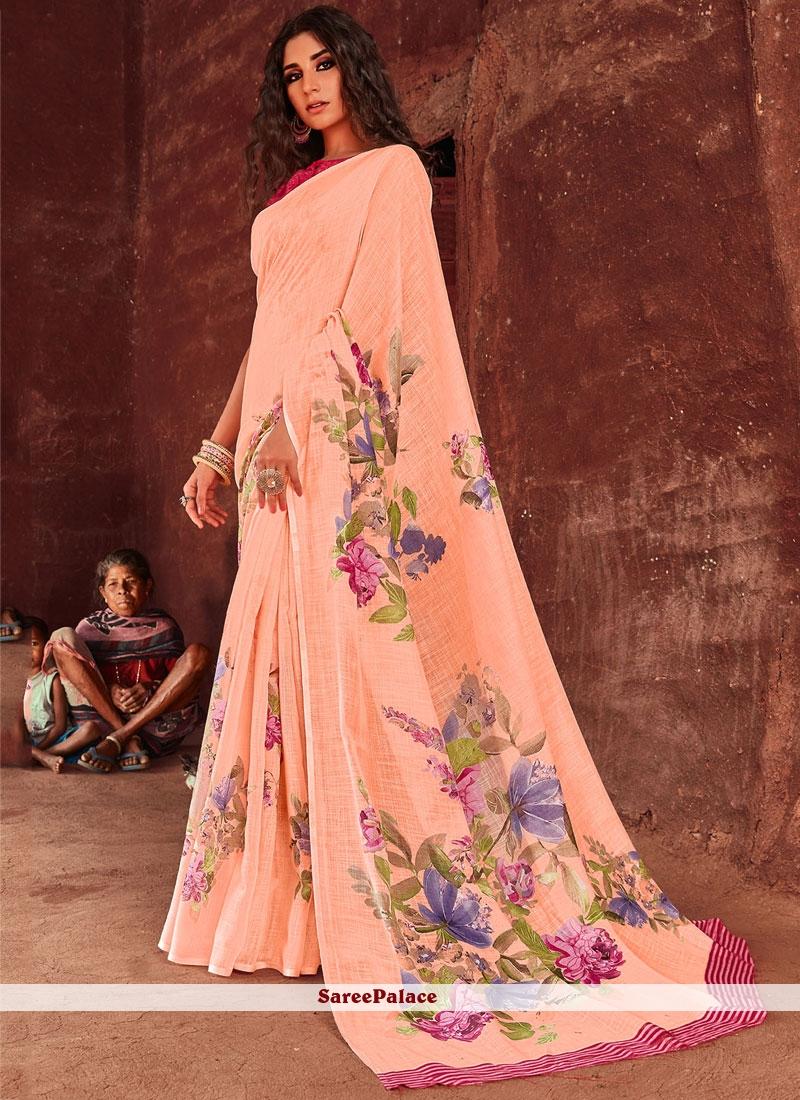 Peach Floral Print Designer Saree