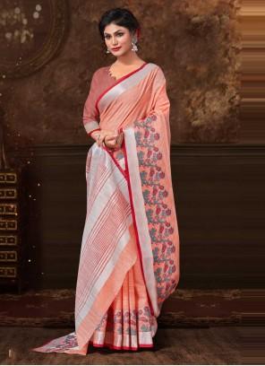 Peach Floral Print Fancy Fabric Classic Saree