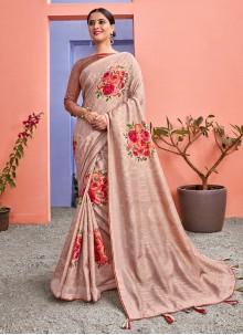 Peach Floral Print Silk Saree
