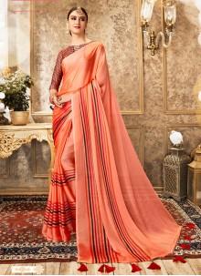 Peach Foil Print Ceremonial Classic Designer Saree