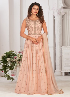 Peach Georgette Embroidered Readymade Anarkali Suit