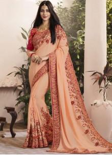 Peach Georgette Thread Designer Saree