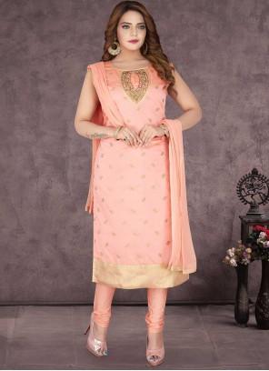 Peach Handwork Chanderi Silk Readymade Suit