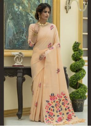Peach Linen Ceremonial Trendy Saree