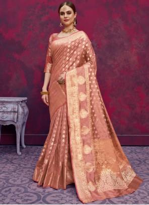 Peach Mehndi Classic Designer Saree
