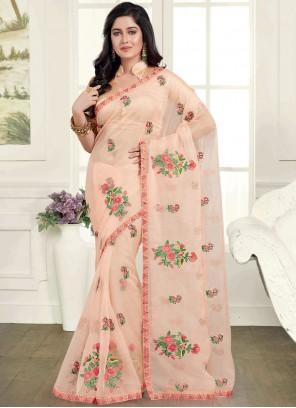Peach Mehndi Classic Saree